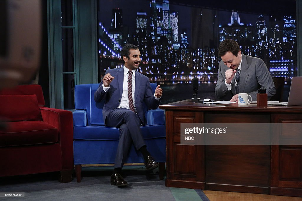 <a gi-track='captionPersonalityLinkClicked' href=/galleries/search?phrase=Aziz+Ansari&family=editorial&specificpeople=4266146 ng-click='$event.stopPropagation()'>Aziz Ansari</a> with host Jimmy Fallon during an interview on Wednesday, October 30, 2013 --