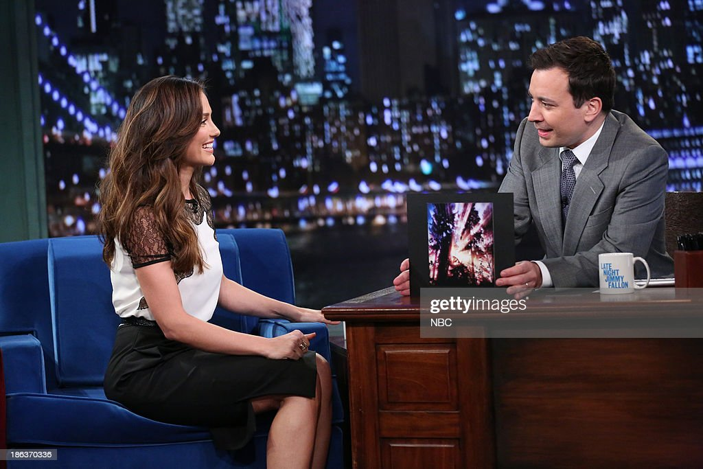 Minka Kelly with host Jimmy Fallon during an interview on Wednesday, October 30, 2013 --