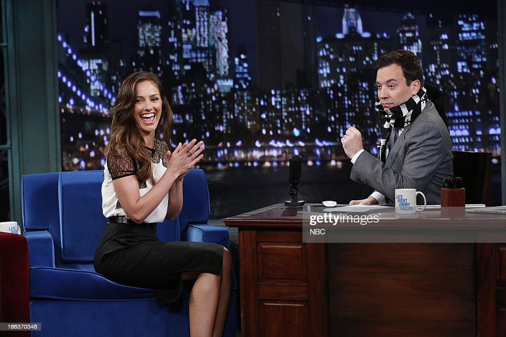 <a gi-track='captionPersonalityLinkClicked' href=/galleries/search?phrase=Minka+Kelly&family=editorial&specificpeople=632847 ng-click='$event.stopPropagation()'>Minka Kelly</a> with host Jimmy Fallon during an interview on Wednesday, October 30, 2013 --