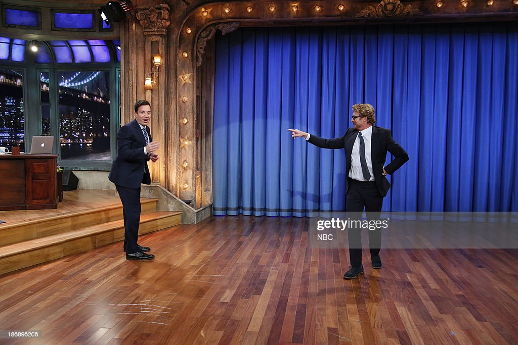 Host Jimmy Fallon, actor Simon Baker showcase their moves in a Mick-off after Jimmy learns Simon does a great Mick Jagger impression on Monday, November 4, 2013 --