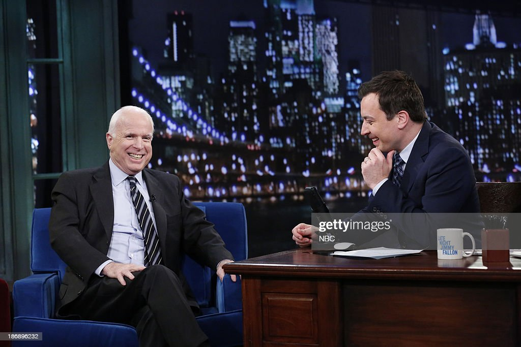 Senator <a gi-track='captionPersonalityLinkClicked' href=/galleries/search?phrase=John+McCain&family=editorial&specificpeople=125177 ng-click='$event.stopPropagation()'>John McCain</a> with host Jimmy Fallon during an interview on Monday, November 4, 2013 --