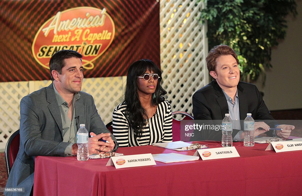 THE OFFICE -- 'A.A.R.M.' Episode 922 -- Pictured: (l-r) Aaron Rodgers as himself, Santigold as herself, Clay Aiken as himself --