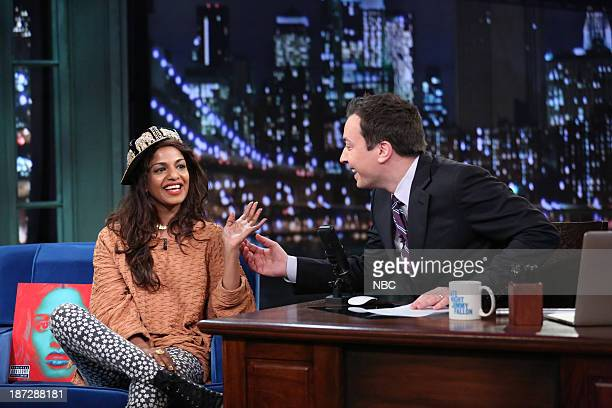 Musician MIA with host Jimmy Fallon during an interview on Thursday November 7 2013