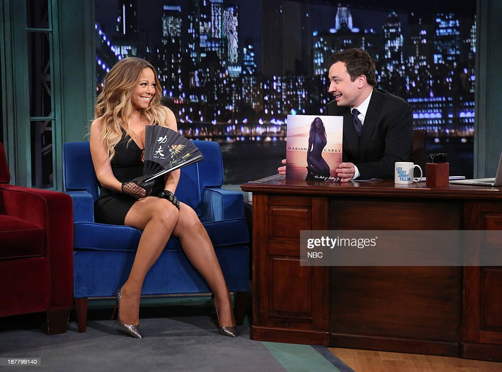 Mariah Carey with host Jimmy Fallon during an interview on Tuesday, November 12, 2013-- (Photo by: Lloyd Bishop/NBC/NBCU Photo Bank via Getty Images)..