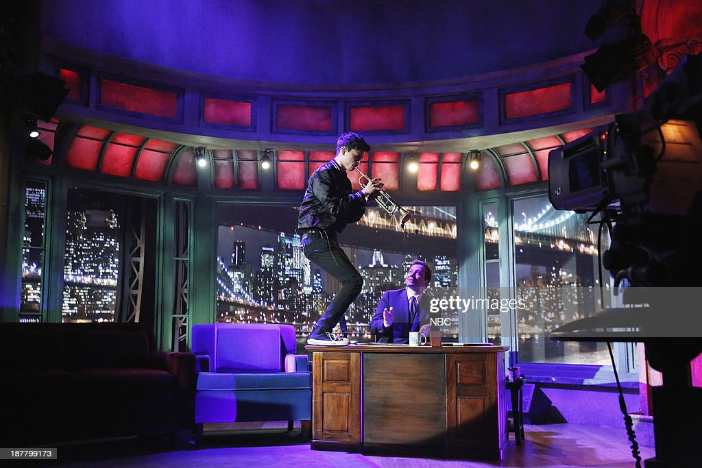 Music guest Ryan Merchant of Capital Cities performs on Tuesday, November 12, 2013--