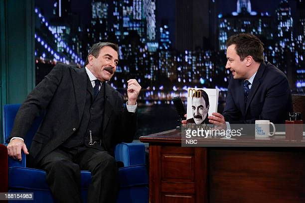 Tom Selleck with host Jimmy Fallon during an interview on Friday November 15 2013