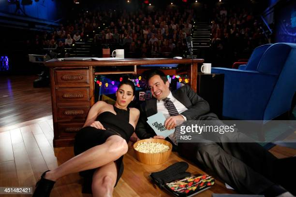 Sarah Silverman host Jimmy Fallon chat in Jimmy's desk fort on Friday November 22 2013