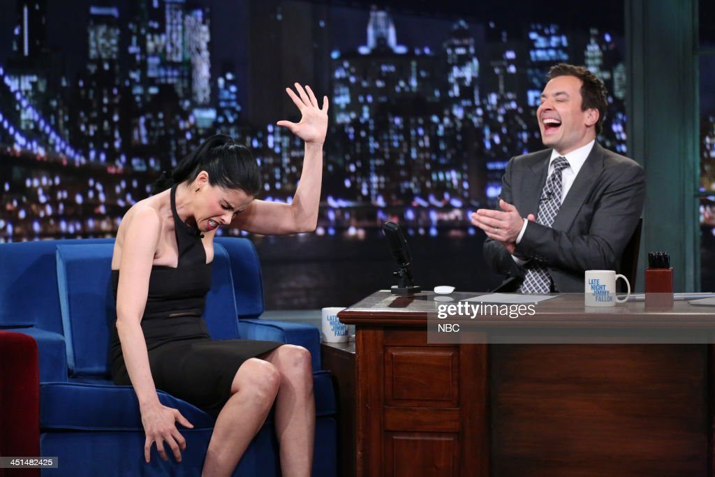 Sarah Silverman with host Jimmy Fallon during an interview on Friday, November 22, 2013 --