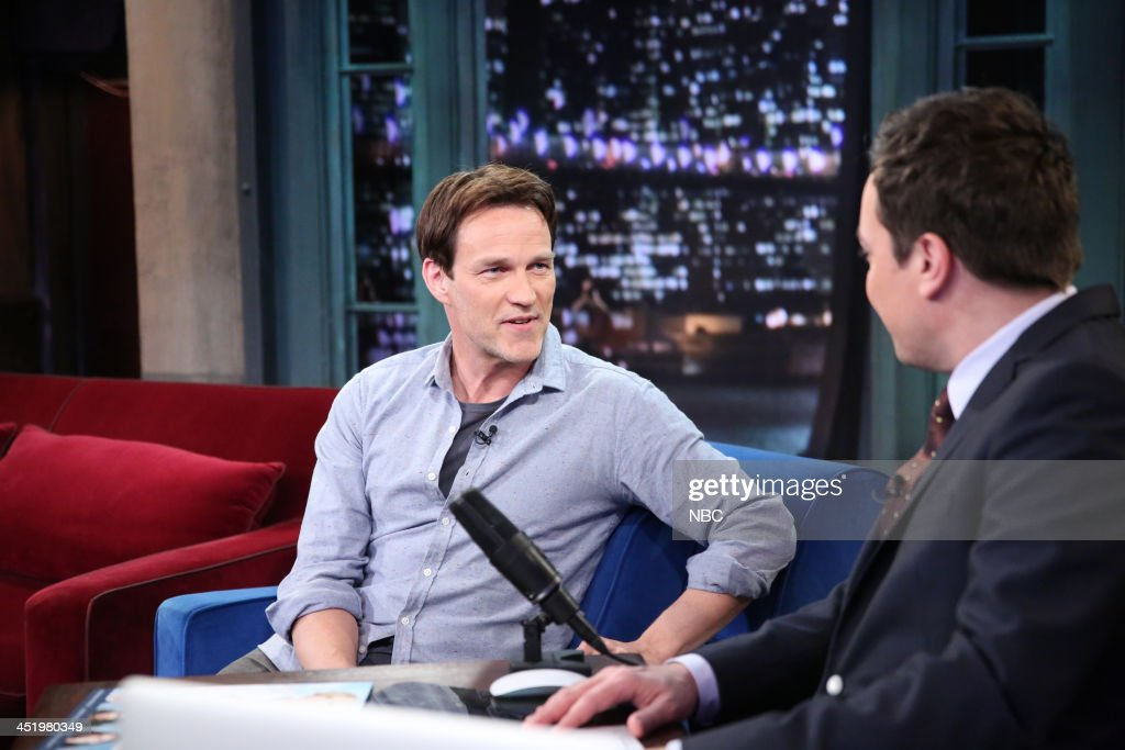 Stephen Moyer with host Jimmy Fallon during an interview on Monday, November 25, 2013 --