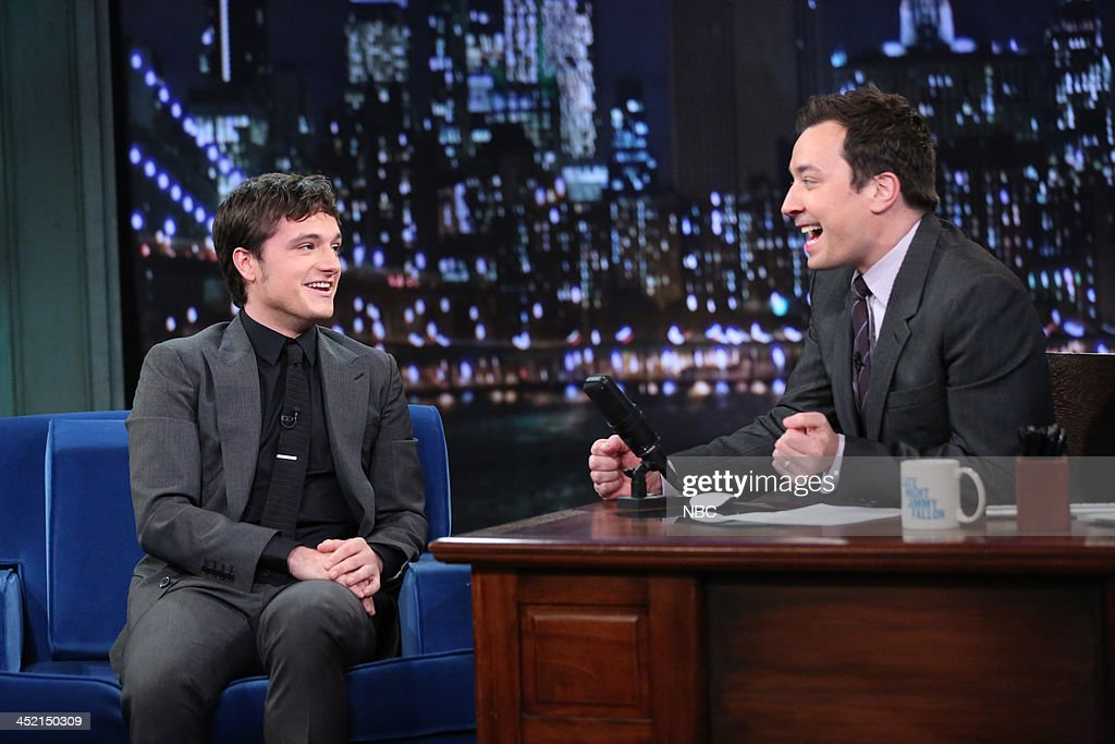 Josh Hutcherson with host Jimmy Fallon during an interview on Tuesday, November 26, 2013 --