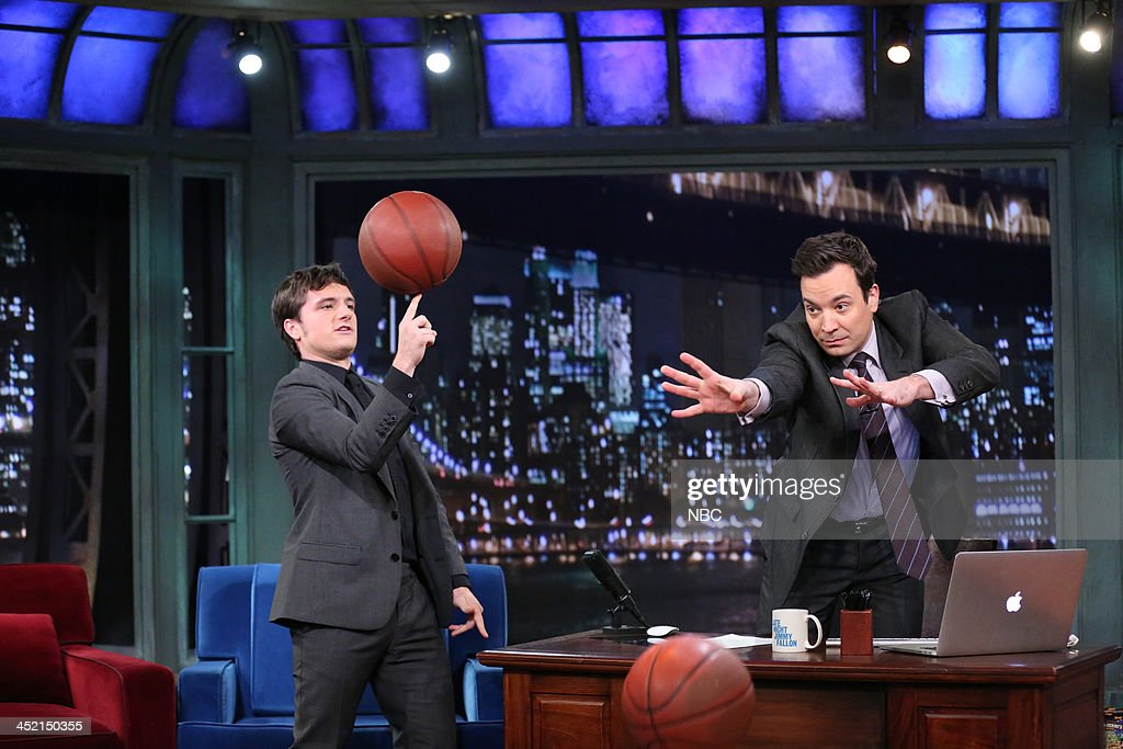 <a gi-track='captionPersonalityLinkClicked' href=/galleries/search?phrase=Josh+Hutcherson&family=editorial&specificpeople=673588 ng-click='$event.stopPropagation()'>Josh Hutcherson</a> with host Jimmy Fallon during an interview on Tuesday, November 26, 2013 --