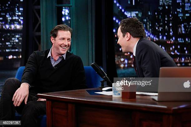 Ed Burns with host Jimmy Fallon during an interview on November 27 2013