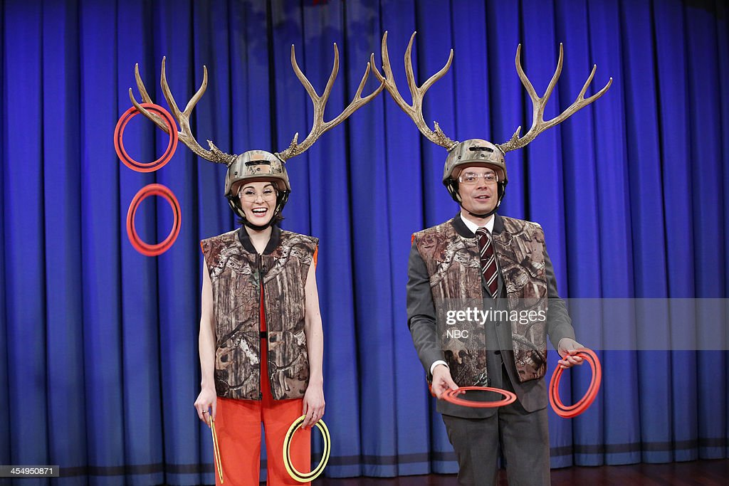 Jimmy plays antler ring toss with Michele Dockery on Tuesday, December 10, 2013 -- (Photo by: Lloyd Bishop/NBC/NBCU Photo Bank via Getty Images)..