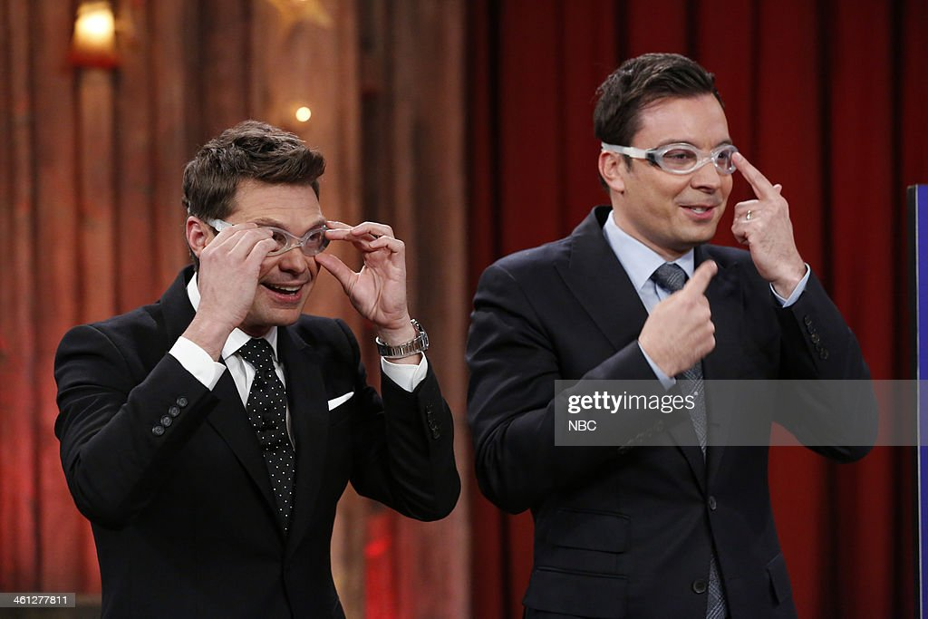 Jimmy Fallon and <a gi-track='captionPersonalityLinkClicked' href=/galleries/search?phrase=Ryan+Seacrest&family=editorial&specificpeople=201694 ng-click='$event.stopPropagation()'>Ryan Seacrest</a> compete in a game of rock, paper, scissors, pie on Tuesday, January 7, 2014 --