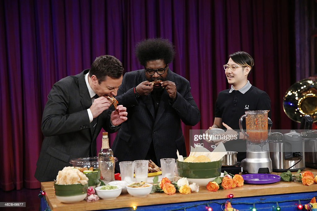Chef Danny Bowien prepares drinks and wings for Jimmy and Questlove on Wednesday, January 15, 2014-- (Photo by: Lloyd Bishop/NBC/NBCU Photo Bank via Getty Images)..