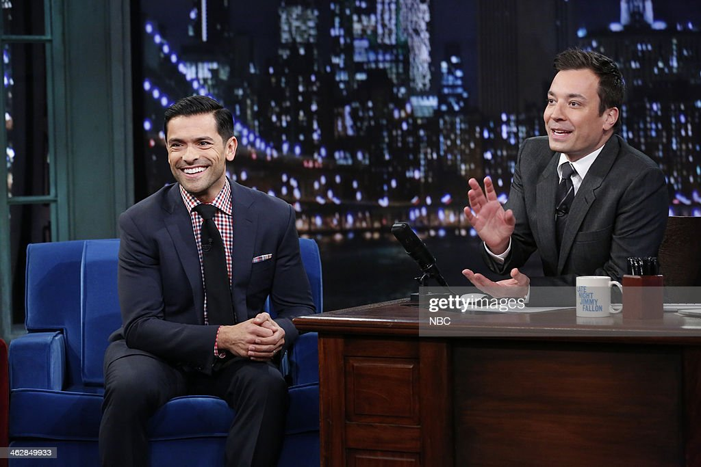 Mark Consuelos with host Jimmy Fallon during an interview on Wednesday, January 15, 2014--