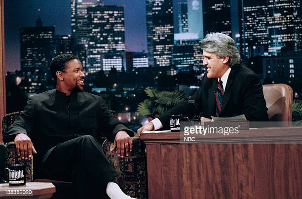 LENO Episode 956 Air Date Pictured Actor Denzel Washington during an interview with host Jay Leno on July 9 1996