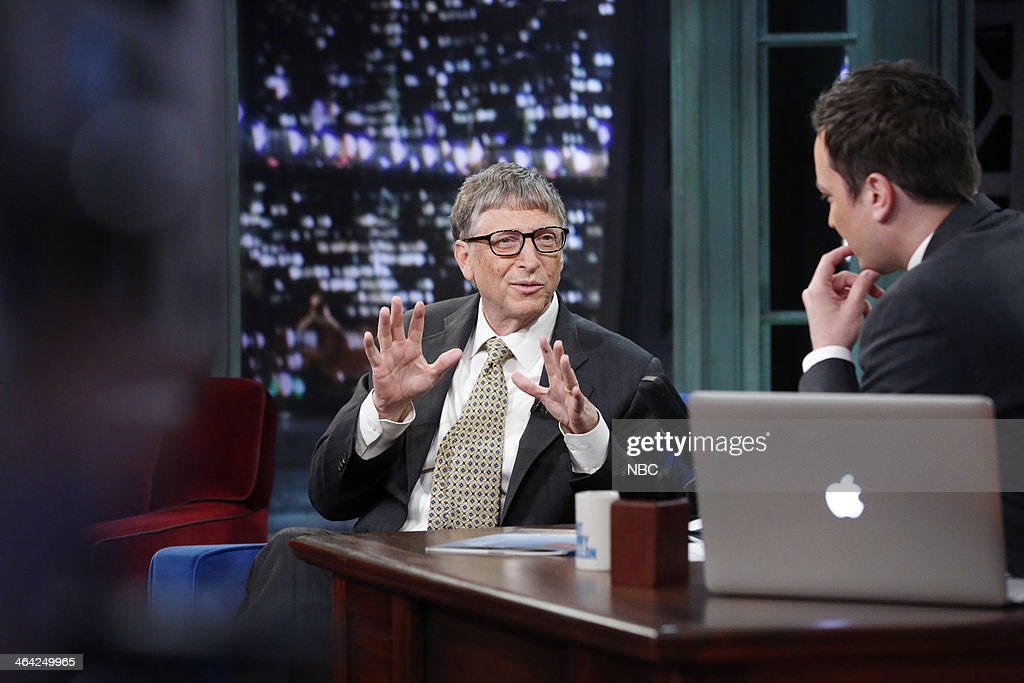 Microsoft founder <a gi-track='captionPersonalityLinkClicked' href=/galleries/search?phrase=Bill+Gates&family=editorial&specificpeople=202049 ng-click='$event.stopPropagation()'>Bill Gates</a> with host Jimmy Fallon during an interview on Tuesday, January 21, 2014 --