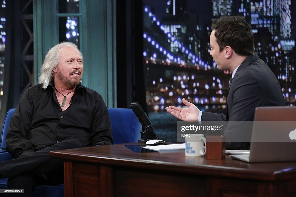 <a gi-track='captionPersonalityLinkClicked' href=/galleries/search?phrase=Barry+Gibb&family=editorial&specificpeople=208122 ng-click='$event.stopPropagation()'>Barry Gibb</a> with host Jimmy Fallon during an interview on Monday, January 27, 2014 --