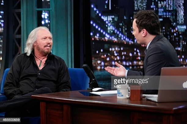 Barry Gibb with host Jimmy Fallon during an interview on Monday January 27 2014
