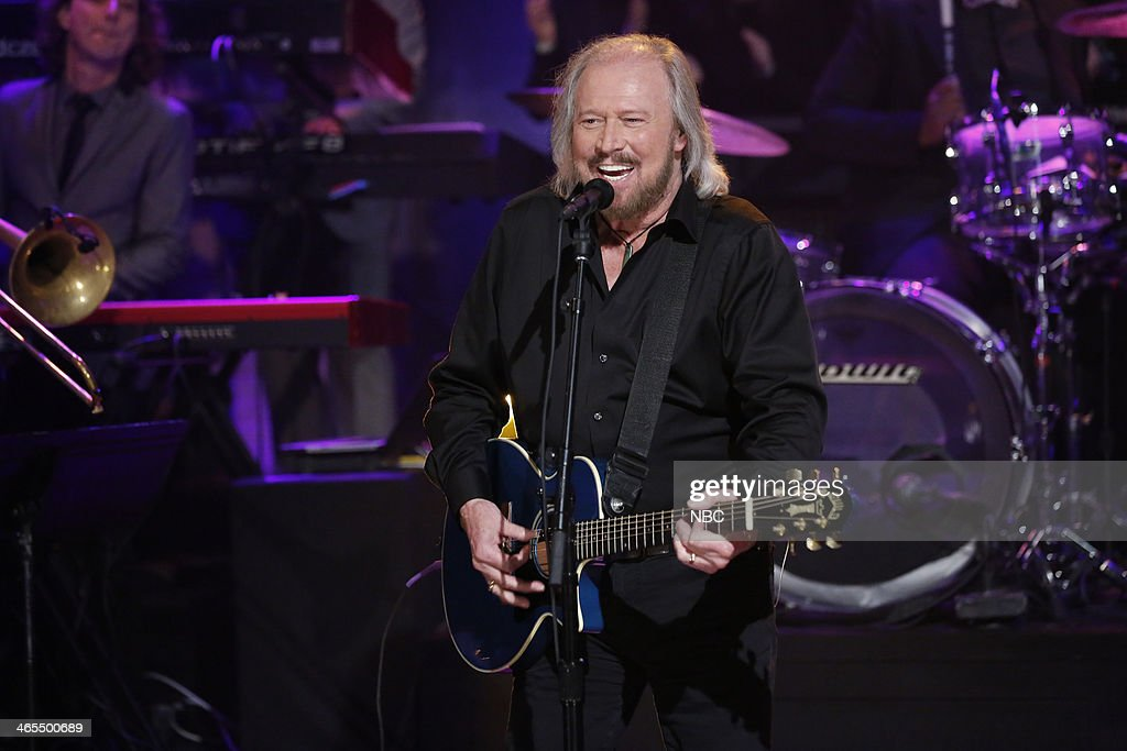 Musical guest <a gi-track='captionPersonalityLinkClicked' href=/galleries/search?phrase=Barry+Gibb&family=editorial&specificpeople=208122 ng-click='$event.stopPropagation()'>Barry Gibb</a> performs 'You Should Be Dancin'' on Monday, January 27, 2014 --