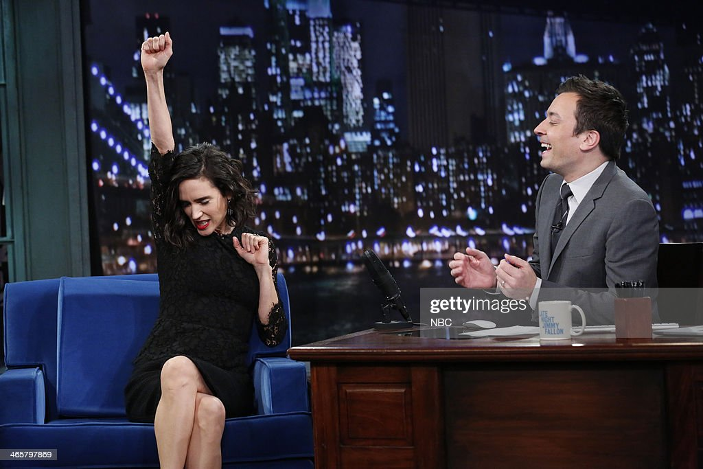Jennifer Connelly with host Jimmy Fallon during an interview on Wednesday January 29, 2014 --