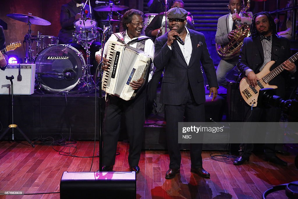 Buckwheat Zydeco and Tariq 'Black Thought' Trotter perform with the Roots perform 'On a Night Like This' on Friday, February 7, 2014 -- (Photo by: Lloyd Bishop/NBC/NBCU Photo Bank via Getty Images).