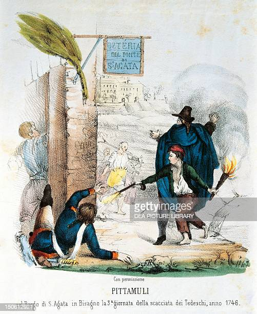 Episode of the uprising against Austrian troops Genoa the child Pittamuli setting fire to the St Agatha inn where the Austrians were encamped War of...