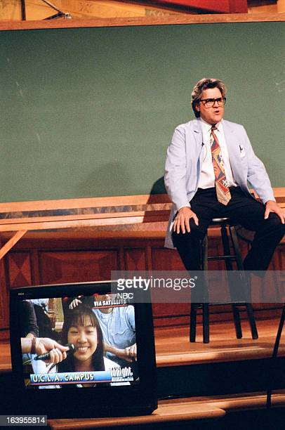 Host Jay Leno during the 'Mr Brain' skit on April 6 1995