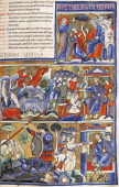 Episodes from the life of David miniature from the Bible of Souvigny Latin manuscript 1 folio 193 recto 12th Century