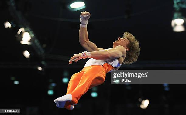 Epke Zobderland of Netherland performs at the horizontal bar during the European Championships Artistic Gymnastics Men's Apparatus Finals at...