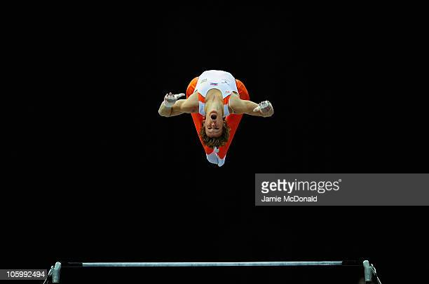 Epke Zonderland of Holland competes in the High Bar during the Apparatus Final of the 42nd Artistic Gymnastics World Championships at Ahoy on October...