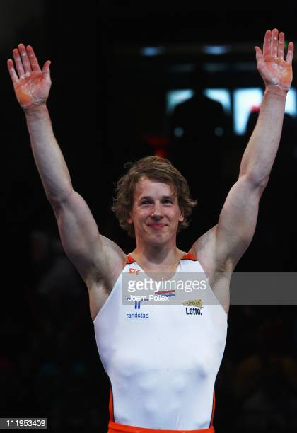 Epke Zonderland of Netherland celebrates after he performed at the horizontal bar during the European Championships Artistic Gymnastics Men's...