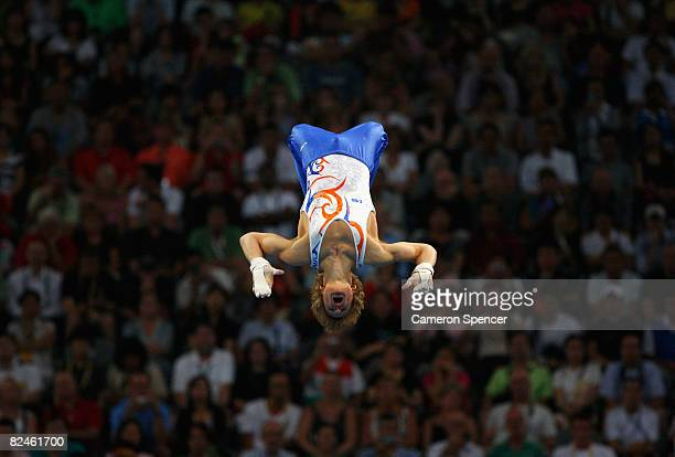 Epke Zonderland of Netherlands competes in the Men's Parallel Bars Final at the National Indoor Stadium on Day 11 of the Beijing 2008 Olympic Games...