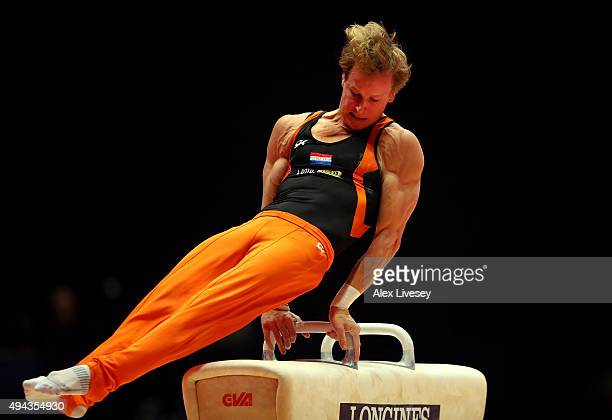 Epke Zonderland of Netherlands competes in the Pommel during Day 4 of the 2015 World Artistic Gymnastics Championships at The SSE Hydro on October 26...