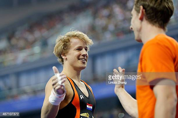 Epke Zonderland of the Netherlands celebrates after his finish in the Men's Horizontal Bar Final on day six of the 45th Artistic Gymnastics World...