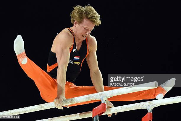 Epke Zonderland of The Netherlands competes in a qualifying round of the Parallel bars event of the European Men's Artistic Gymnastics Championships...