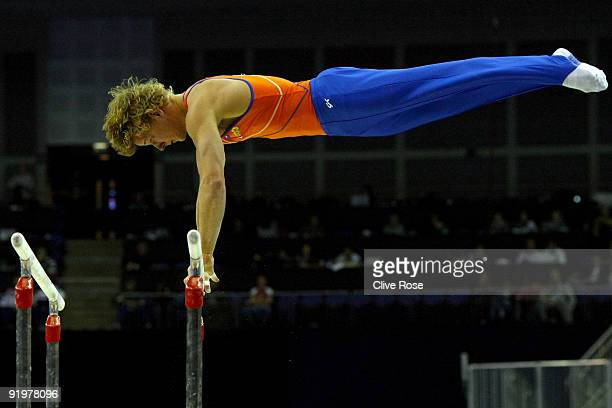 Epke Zonderland of the Netherlands competes in the parallel bars during the Apparatus Finals on the sixth day of the Artistic Gymnastics World...