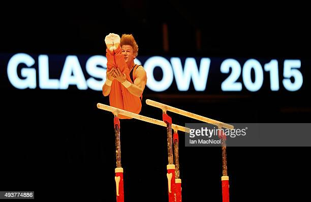 Epke Zonderland of the Netherlands goes through his routine on the Parallel Bars during the 2015 World Artistic Gymnastics Championships Training...