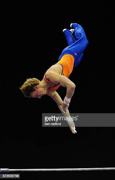 Epke Zonderland of The Netherlands performs on the high bar during qualification for the Men's Senior Team Event of the 29th European Artistic...