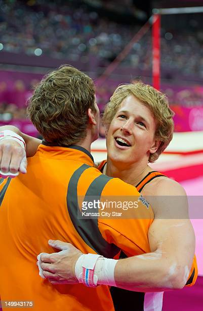 Epke Zonderland of the Netherlands reacted after his gold medal performance in the men's horizontal bar apparatus finals at North Greenwich Arena...