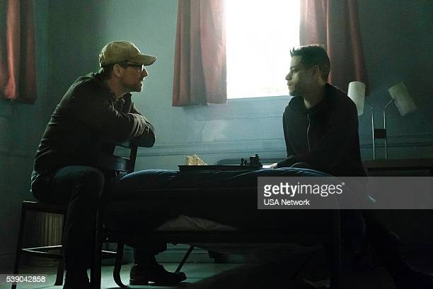 MR ROBOT 'eps22_init_1asec' Episode 204 Pictured Christian Slater as Mr Robot Rami Malek as Eliot Anderson