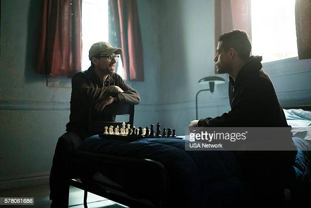 MR ROBOT 'eps22_init_1asec' Episode 204 Pictured Christian Slater as Mr Robot Rami Malek as Elliot Alderson