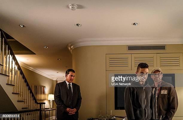 MR ROBOT 'eps28_h1ddenpr0cessaxx' Episode 210 Pictured Jeremy Holm as Mr Sutherland Rami Malek as Elliot Alderson Christian Slater as Mr Robot