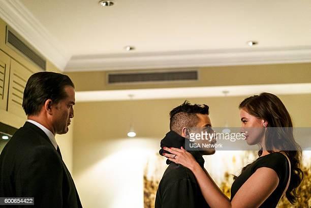 MR ROBOT 'eps28_h1ddenpr0cessaxx' Episode 210 Pictured Jeremy Holm as Mr Sutherland Rami Malek as Elliot Alderson Stephanie Corneliussen as Joanna...
