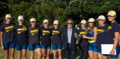 Epsom Grammer School with DevonportTakapuna Local Board Member Mike Cohen after winning the Girls under 18 coxed eight during the Head of Harbour on...