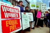'Equal Pay Day 2000' Rally in front of the US Mint 300 W Colfax Ave Several womens groups speak out about the current wage gap for women and people...