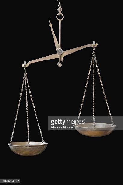 Equal-arm balance hanging against black background