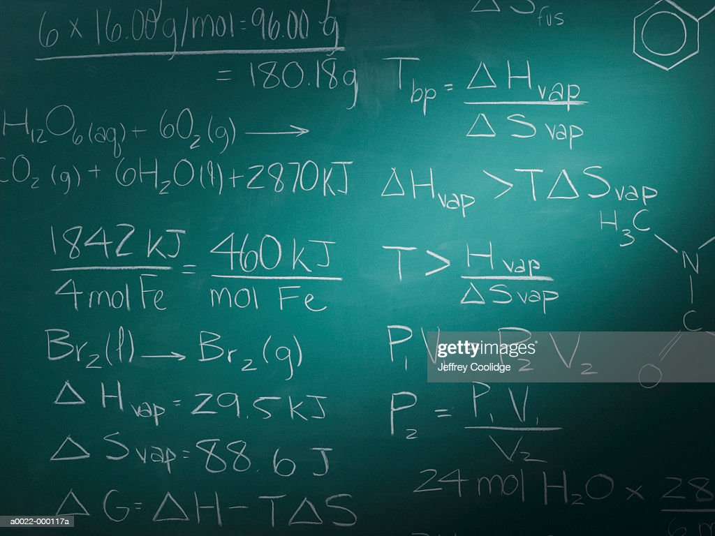 Equations on Blackboard : Stock Photo