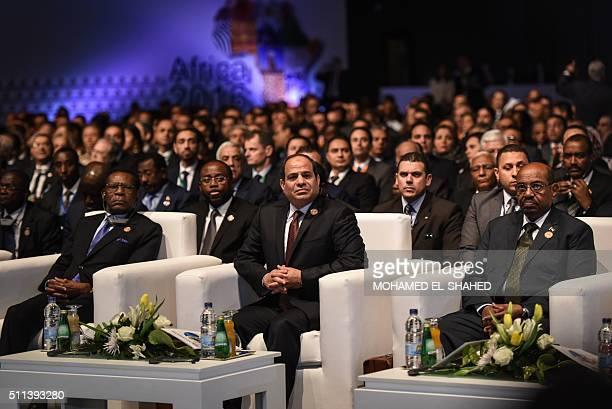 Equatorial Guinea President Teodoro Obiang Nguema Mbasogo Egypt's President Abdel Fattah alSisi and Sudanese President Omar alBashir attend the...
